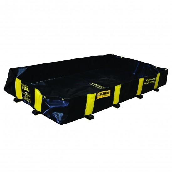 Justrite befahrbare Faltwanne 28514, schwarz, 890 L, 1,2 x 2,4 m, für Fässer, IBC, Tanks