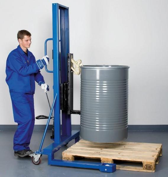Fasslifter mit Greifer und Fußpumpe, Stahl lackiert, Fahrwerk breit, 1200x1140x1605mm