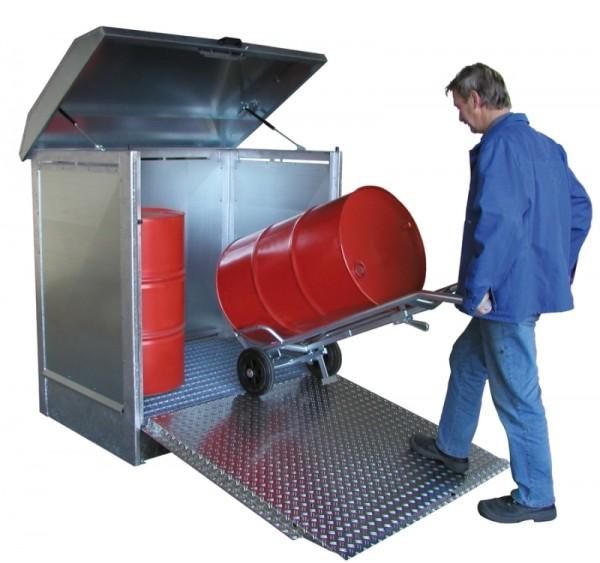 Bauer Gefahrstoff-Depot Typ GD-N/R 2 mit abklappbarer Vordertür als Auffahrrampe, 2x 200-l-Fässern