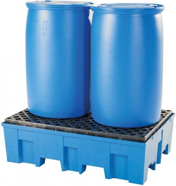 Auffangwanne PE unterfahrbar, PE Gitterrost, 865 x 1245 x 375 mm, für 2x 200 L Fass