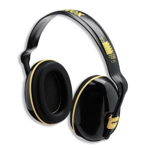 uvex Kapselgehörschutz K200 mit 360° Kopfbandanpassung, schwarz/ocker, SNR 28 dB