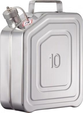 Sicherheits-Transportkanister 10 Liter Edelstahl Rötzmeier mit Schraubkappe für UN-Transporte