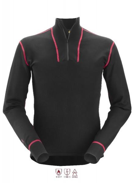 Snickers Workwear 9462 ProtecWork Langarm-Wollhemd mit Halbreißverschluss, schwarz