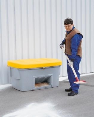 Streugutbehälter aus PE mit Entnahmeöffnung, 550 L, Deckel gelb