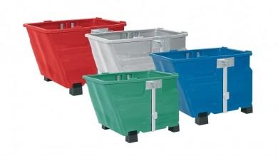 Kippbehälter mit Füßen, 600 L, 960x1260x845mm, PE, verschiedene Farben
