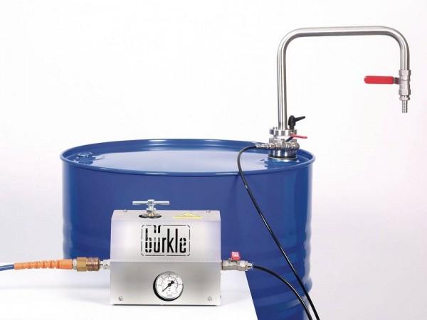 Entnahmesystem für Lösemittel mit Auslaufbogen, 10 l/min, Eintauchtiefe 950 mm