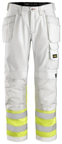 Snickers Workwear 3234 High-Vis Malerhose weiß/signalgelb, Klasse 1