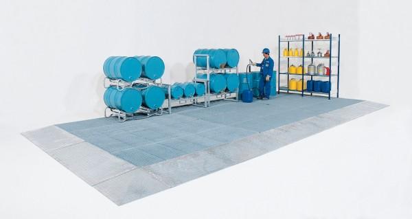 Bodenelement 20 Liter Stahl verzinkt mit Gitterrost, Radlast 450 kg, 500 x 500 x 123 mm