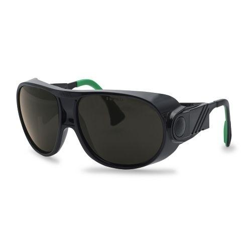 uvex Schweißerschutzbrille 9180144 futura, schwarz / grün, PC grau, Schutzstufe 4,