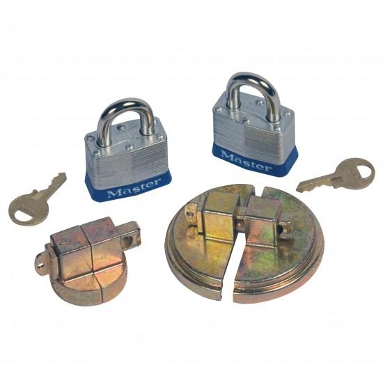 Justrite Fassschloss 08510 Stahlmodell für DN20 und DN50 Spund, 2 Vorhängeschlösser
