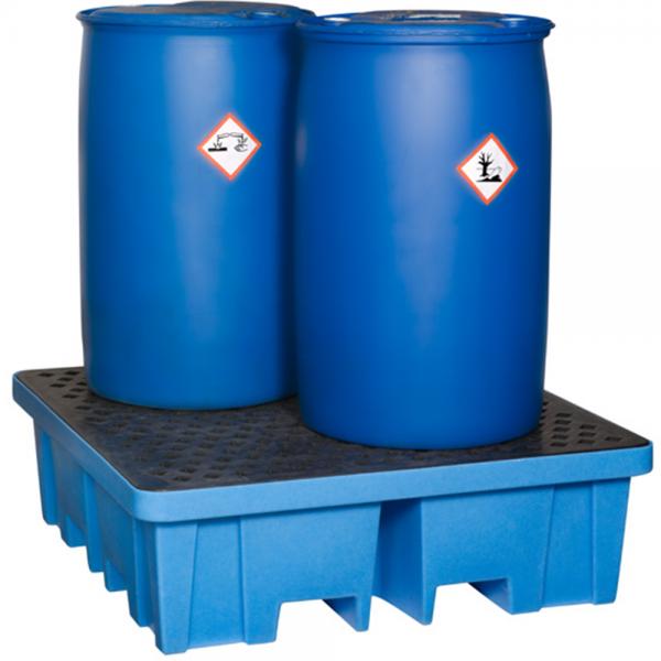 Auffangwanne für 4 Fässer aus Kunststoff von 4-Seiten-unterfahrbar