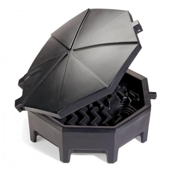 Polyethylen-Fasstrichter mit Scharnierdeckel schwarz, DRM672