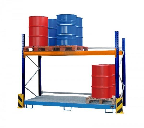 Bauer Palettenregal Typ PR Set 1 mit Regalwanne 240 l mit Gitterrost, für max. 12 x 200-l-Fässer