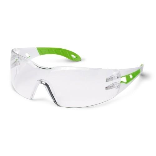 uvex Schutzbrille pheos s 9192725, schmal, weiß/grün, PC farblos