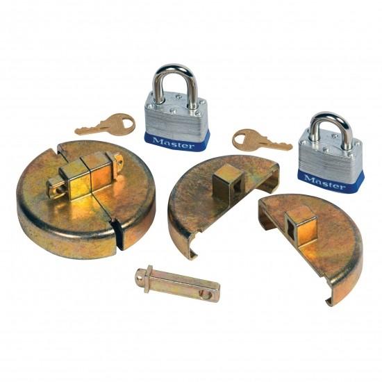 Justrite Fassschloss 08511 Stahlmodell, für DN20 und DN50 Spund, 2 Vorhängeschlösser