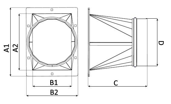 Fumex Übergangsstück FBO 075 (Ausgang) für Ventilator FB 075