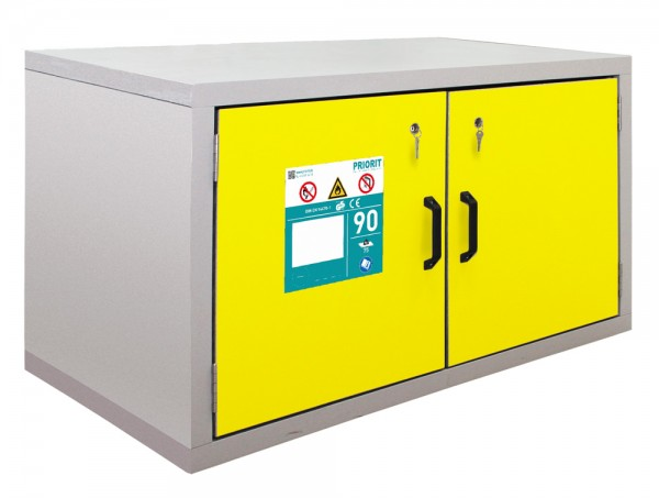 Priorit Untertisch-Sicherheitsschrank Priocab Typ90, EN92U:067-110-VA, 2-flügelig, Bodenwanne