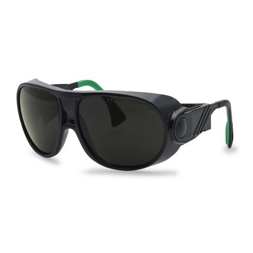 uvex Schweißerschutzbrille 9180145 futura, schwarz / grün, PC grau, Schutzstufe 5