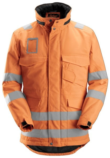 Snickers Workwear 1823 High-Vis Winter-Arbeitsparka mit einrollbarer Kapuze, EN 20471 Klasse 3