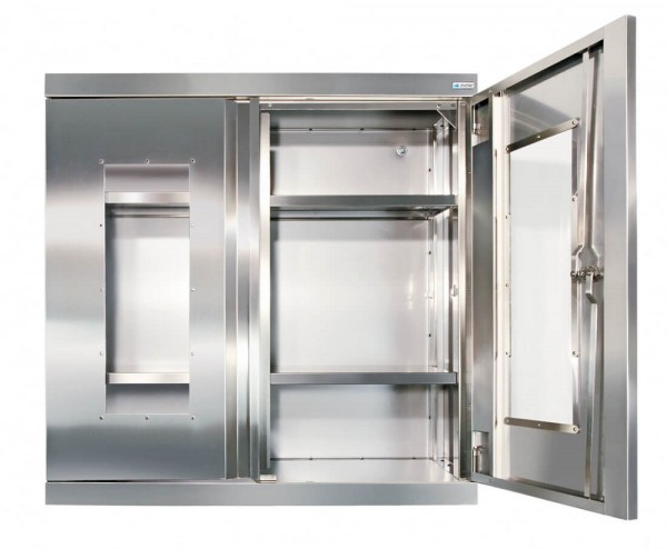 STM-CabinOX Edelstahl-Hänge-Sichtfensterschrank, 900 x 900 x 400 mm