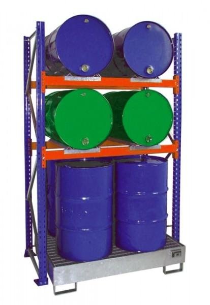 Bauer Fass-Grundregal Typ S 3010 pulverbeschichtet, 2 Ebenen, Auffangwanne verzinkt mit Gitterrost