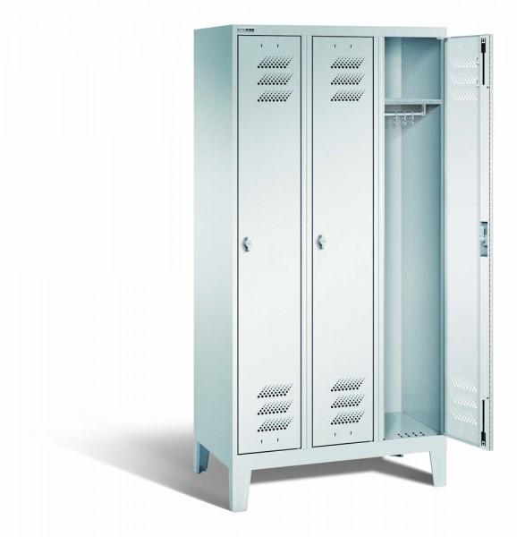Kleiderschrank mit Füßen, Stahl, 3 Abteile, 900 x 500 x 1850 mm, DIN 4547