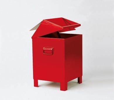 Entsorgungsbehälter 73 Liter mit Pendeldach, Stahlblech, rot