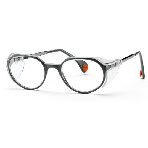 uvex Zweischeiben-Bügelbrille 9137005 ceramic, grau/schwarz, PC farblos, für schmale Gesichter