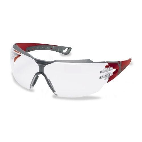 uvex Schutzbrille 9198258 pheos cx2, rot/grau, PC farblos, beschlagfrei, kratzfest