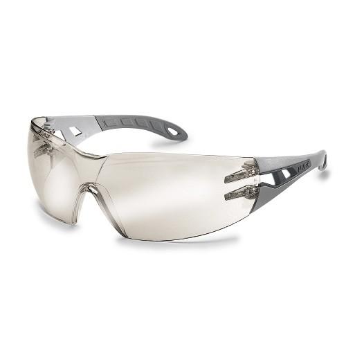 uvex Schutzbrille 9192891 pheos s, schmal, hellgrau/grau, PC verspiegelt silber