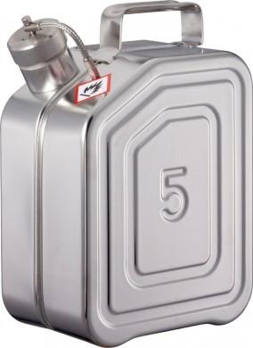 Sicherheits-Transportkanister 5 Liter Edelstahl Rötzmeier mit Schraubkappe für UN-Transporte