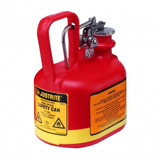 Justrite Poly-Sicherheitsbehälter Typ I, 2 Liter, oval, rot