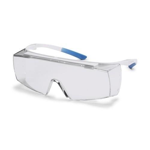 uvex Bügelbrille 9169500 super f OTG CR, weiß/hellblau, PC farblos, Autoklavierbar, Beschlagfrei