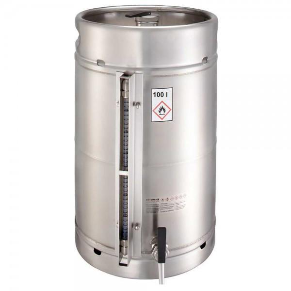 Rötzmeier Sicherheitsstandgefäß 100 Liter aus Edelstahl mit Zapfhahn und Skala
