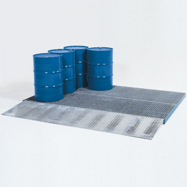 Bodenelement, Stahl verzinkt, Gitterrost verzinkt, 225 L, Radlast 450kg, 2862 x 1862 x 78 mm