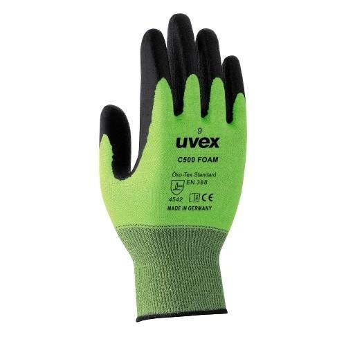 uvex Schnittschutzhandschue C500 foam lime/anthrazit, hitzebeständig, silikonfrei, flexibel