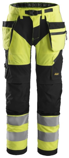 Snickers Workwear 6932 FlexiWork, High-Vis Arbeitshose+ mit Holstertaschen, EN 20471 Klasse 2