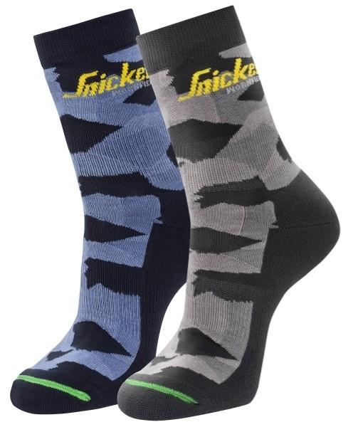 Snickers Workwear 9219 FlexiWork Camo-Socken, 2-Pack