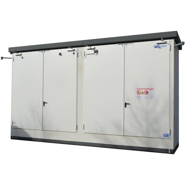 Brandschutz-Regallager für 8 IBC oder 12 EUR-Paletten zur Aufstellung im Freien