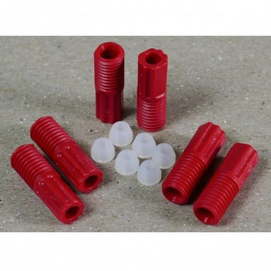 Justrite ETFE-Rohrverschraubungen 3 mm, rot, mit 6 Aderendhülsen, 6-er Pack