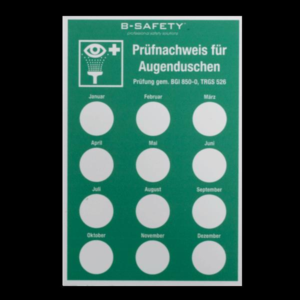 B-Safety Wartungsprotokoll-Schild BR205610 für Augenduschen
