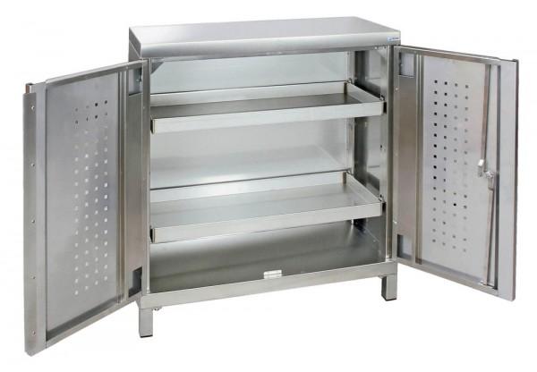 STM-CabinOX Edelstahl-Umweltschrank, 1000 x 900 x 400 mm, 2 Wannen, Vierkant-Sockelfüße