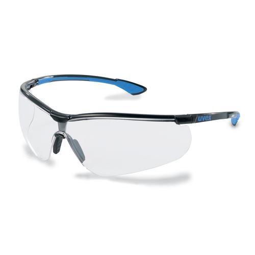 uvex Schutzbrille 9193838 sportstyle AR, schwarz/blau, PC farblos, kratzfest, Antireflex