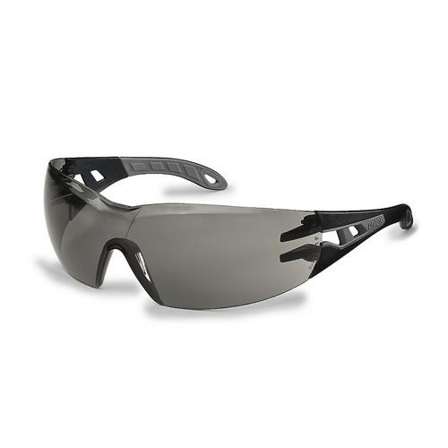 uvex Schutzbrille 9192283 pheos s, schmal, schwarz/grau, PC grau, kratzfest, beschlagfrei