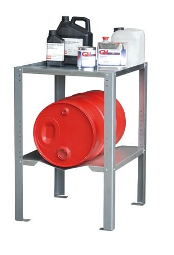 Bauer Gebinderegal Typ GR-B Stahl verzinkt mit 1x Fassaufauflage und 1x Fachboden