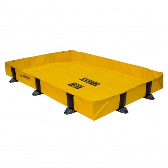 Justrite tragbare Faltwanne 28378, gelb, 1507 L, 2,4 x 3,0 m, für schnelle Noteinsätze
