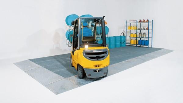 Bodenelement 80 Liter Stahl verzinkt mit Gitterrost, Radlast 2000 kg, 1000 x 1000 x 123 mm