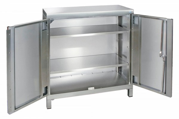 STM-CabinOX Edelstahl-Aufbewahrungsschrank, 1000 x 900 x 400 mm, Vierkant-Sockelfüße