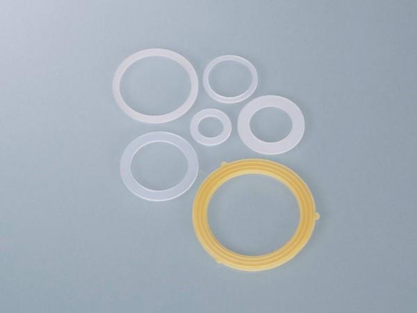 Flachdichtungen aus PE transparent für Außen- oder Innengewinde