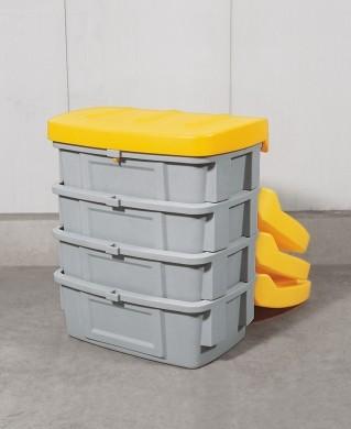 Streugutbehälter aus PE ohne Entnahmeöffnung, 100 L, Deckel gelb